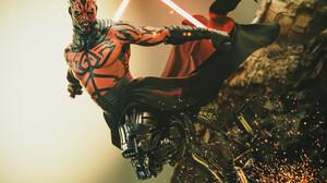 Star Wars Fan Art Darth Maul Zabrak Lightsaber Star Wars Villains Digital Art 2688x1798 Wallpaper