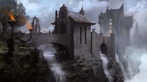 Bridge Building Waterfall 1920x1120 wallpaper
