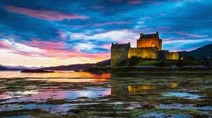 Artistic Castle Lake 3840x2160 wallpaper