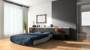 Bed Bedroom Cgi Furniture Room 5000x3375 Wallpaper