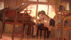 Anime Girls Piano Sitting Hugging Skirt 4096x2246 Wallpaper