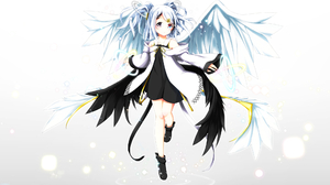Blue Eyes Heterochromia Purple Eyes Short Hair Twintails Wings 1968x1391 wallpaper
