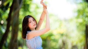 Asian Brunette Depth Of Field Girl Model Woman 4500x3002 Wallpaper
