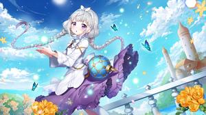 Anime Anime Girls Apple A Caramel Artwork Silver Hair Braids Purple Eyes 1920x1080 Wallpaper