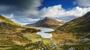 Cloud Mountain Wales Snowdonia Lake Nature 4096x2732 Wallpaper