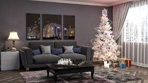 Christmas Tree Decoration Furniture Gift 2560x1440 Wallpaper