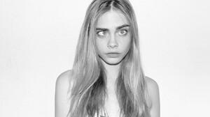 Women Cara Delevingne Monochrome Blonde Eyebrows Model 1920x1080 Wallpaper