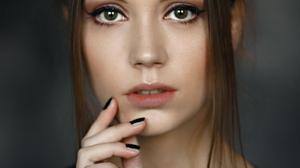 Alexey Kishechkin Women Ksenia Kokoreva Brunette Looking At Viewer Portrait Makeup Eyeliner Black Na 1543x2160 Wallpaper