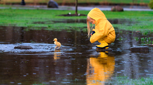 Child Cute Duckling Little Girl Rain Raincoat Reflection 2048x1365 wallpaper