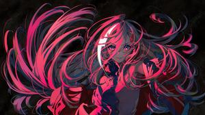 Anime Artwork Illustration Pink Light Shadow Long Hair White Hair Blue Eyes Sleeveless Top Jacket He 2500x1341 Wallpaper
