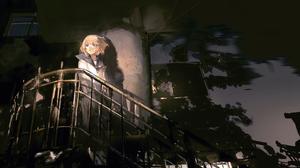Anime Anime Girls Stairs Sailor Uniform Short Hair Light Effects Window Blonde 5120x3200 Wallpaper