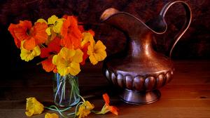 Bronze Flower Orange Flower Pitcher Still Life Yellow Flower 3088x2352 Wallpaper