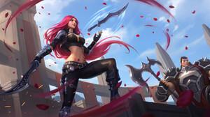 Fan Art League Of Legends Katarina League Of Legends Video Game Girls Jack Hsu Long Hair Redhead Gir 1920x960 Wallpaper