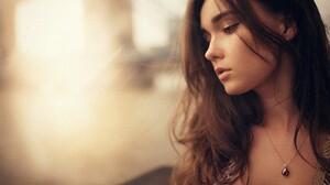 Women Brunette Face Blue Eyes Hair In Face Ivan Gorokhov Necklace Women Model Face Jewelry Brunette  2000x1333 Wallpaper