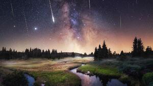 Tomas Havel Landscape Sky Night Shooting Stars Stars Water Horizon Grass Trees 1080x1350 Wallpaper