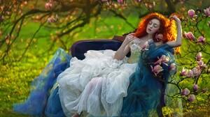 Fantasy Art Women Women Outdoors Model Redhead A M Lorek Flowers 2048x1463 Wallpaper