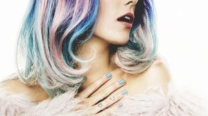 Chloe Norgaard Women Model Multicolored Hair Blue Eyes Makeup Long Hair Danish Simple Background 1002x1280 Wallpaper