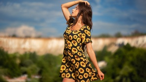 Girl Woman Model Dress Brunette Depth Of Field 2048x1365 Wallpaper