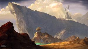 Artwork Fantasy Art Castle Beach Mountain View Cliff 4000x2250 Wallpaper