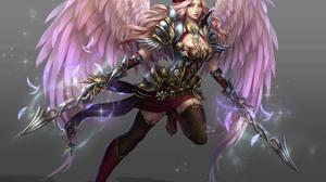 Angel Angel Warrior Fantasy Girl Long Hair Pink Hair Woman 1920x1718 wallpaper