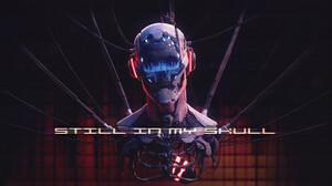 Marco Plouffe Cyberpunk Helmet Skull Wires Ribs Cyborg Heart Dark 3840x2160 Wallpaper