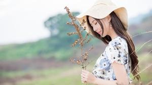 Asian Brunette Girl Lipstick Long Hair Model Mood Woman 2048x1367 Wallpaper