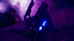 Soldier Galaxy Space Planet Castle Purple Background Sword Purple Dark 3222x3703 Wallpaper