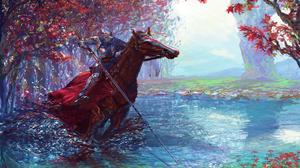 Armor Horse Knight Warrior Water 5906x4169 Wallpaper