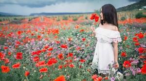 Black Hair Depth Of Field Girl Meadow Model Mood Poppy Red Flower White Dress Woman 1920x1080 Wallpaper