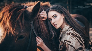 Anton Harisov Women Model Dark Hair Makeup Looking At Viewer Horse Mammals Animals Long Hair Lipstic 2000x1125 Wallpaper