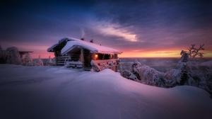 Cabin Landscape Sky Snow Sunset Winter 1920x1080 Wallpaper