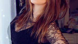 Women Ukrainian Ukrainian Model Model Redhead Brown Eyes Black Dress Hand On Head Hands On Waist Loo 1280x1920 Wallpaper