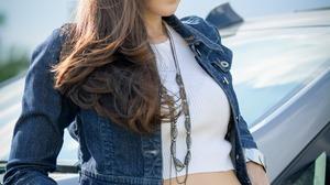 Asian Model Women Long Hair Dark Hair Depth Of Field Leaning Jeans Jeans Jacket Necklace White Shirt 2560x3840 Wallpaper