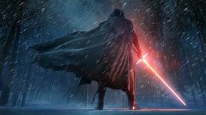 Cape Hood Kylo Ren Lightsaber Man Red Lightsaber Sith Star Wars Snow Star Wars Star Wars Episode Vii 12000x6660 Wallpaper