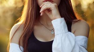 Women Model Brunette Looking At Viewer Parted Lips Black Tops Shirt Portrait Display Vertical Depth  4160x6240 Wallpaper