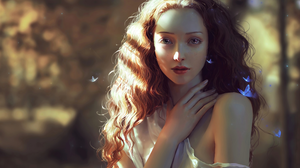 Artistic Butterfly Fantasy Girl Long Hair Painting Woman 4000x2670 Wallpaper