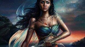 Black Hair Dagger Night Stars Woman Woman Warrior 4000x3167 Wallpaper