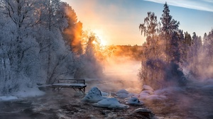 Sunlight Nature Outdoors Winter Cold Ice Snow Trees Water 3840x2160 Wallpaper