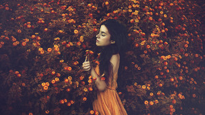 Brunette Flower Girl Model Mood Orange Dress Woman 2048x1365 Wallpaper