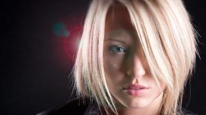 Woman Face Blonde Short Hair Blue Eyes 2424x1582 wallpaper