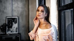Alexey Kishechkin Women Ksenia Kokoreva Brunette Looking At Viewer Makeup Pink Clothing Eyeshadow In 2560x1440 Wallpaper