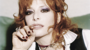 Mylene Farmer French Singer Redhead Rings Makeup Vest Nail Polish Looking At Viewer Film Grain 3057x4453 wallpaper