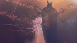 Anime Anime Girls Creature Monster Girl White Hair Huke Artist 2606x1629 Wallpaper