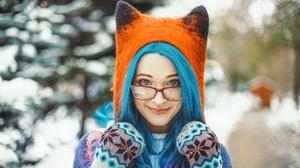 Blue Hair Glasses Depth Of Field 2560x1707 wallpaper