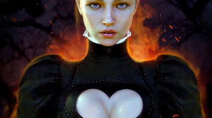 Kirill Repin Drawing Women Maid Maid Outfit Heart Design Black Clothing Fire Forest 1312x1640 Wallpaper
