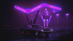 Car Purple Retro Wave 1920x1080 wallpaper