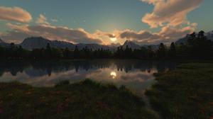 Landscape Nature Lake Clouds Sun Reflection Trees Mountains Grass Digital Art 3D Graphics 3840x2160 Wallpaper
