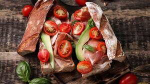 Sandwich Tomatoes Vegetables Bread Food Prosciutto 1920x1080 Wallpaper