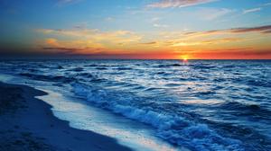 Horizon Nature Ocean Sky Sunset 3200x1800 Wallpaper