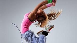 Dancer Women Blonde Tank Top Pink Tops Sweatpants Sneakers Long Hair 2560x1600 Wallpaper